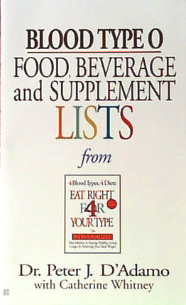 Blood Type O Food, Bev/Supplement Li