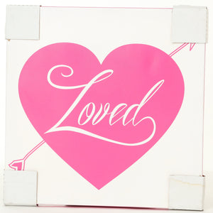 """Loved"" heart canvas art"