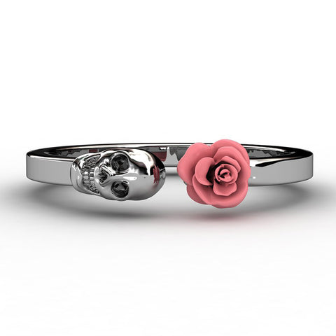 Flower and Skull Ring