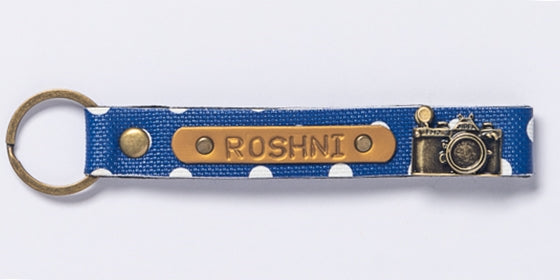 Personalized Blue Polka Dot Keychain
