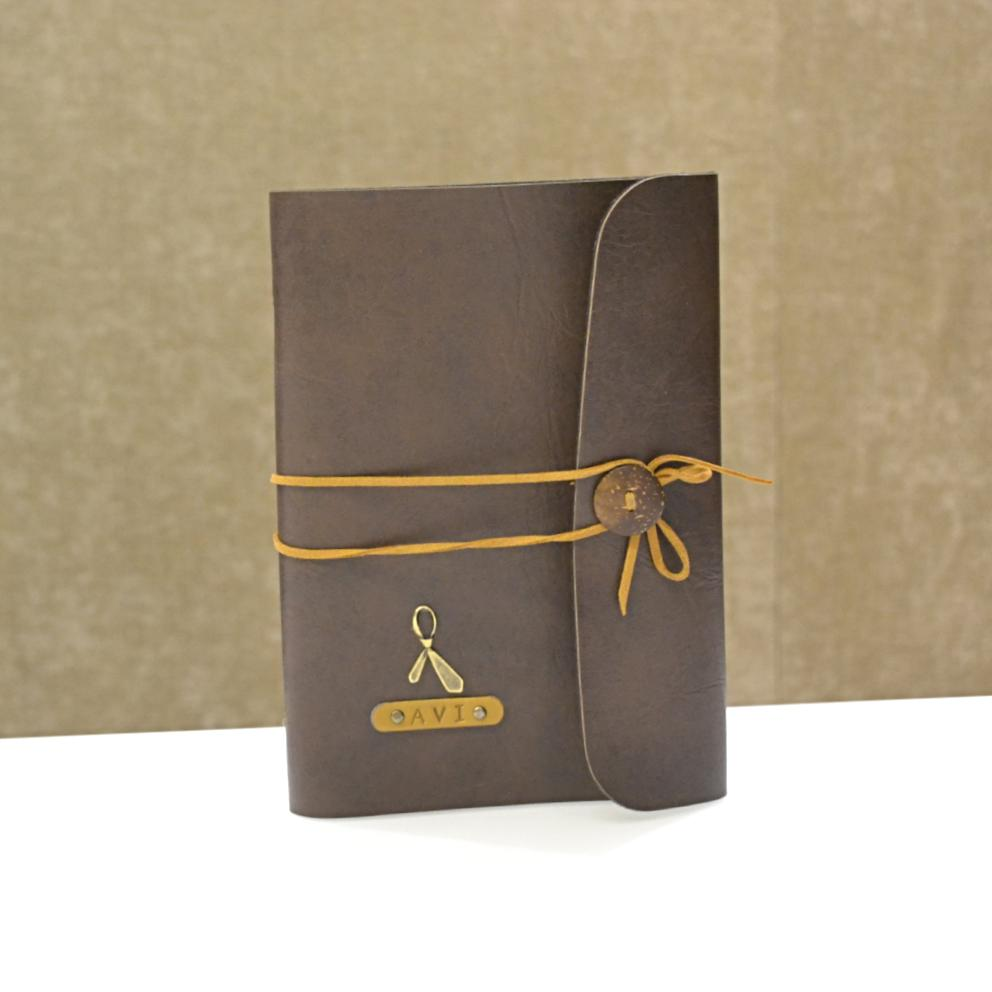 Personalized Coffee Brown with Beige Thread Diary