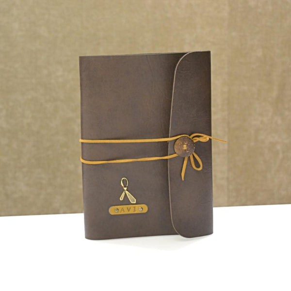 Coffee Brown with Beige Thread Diary