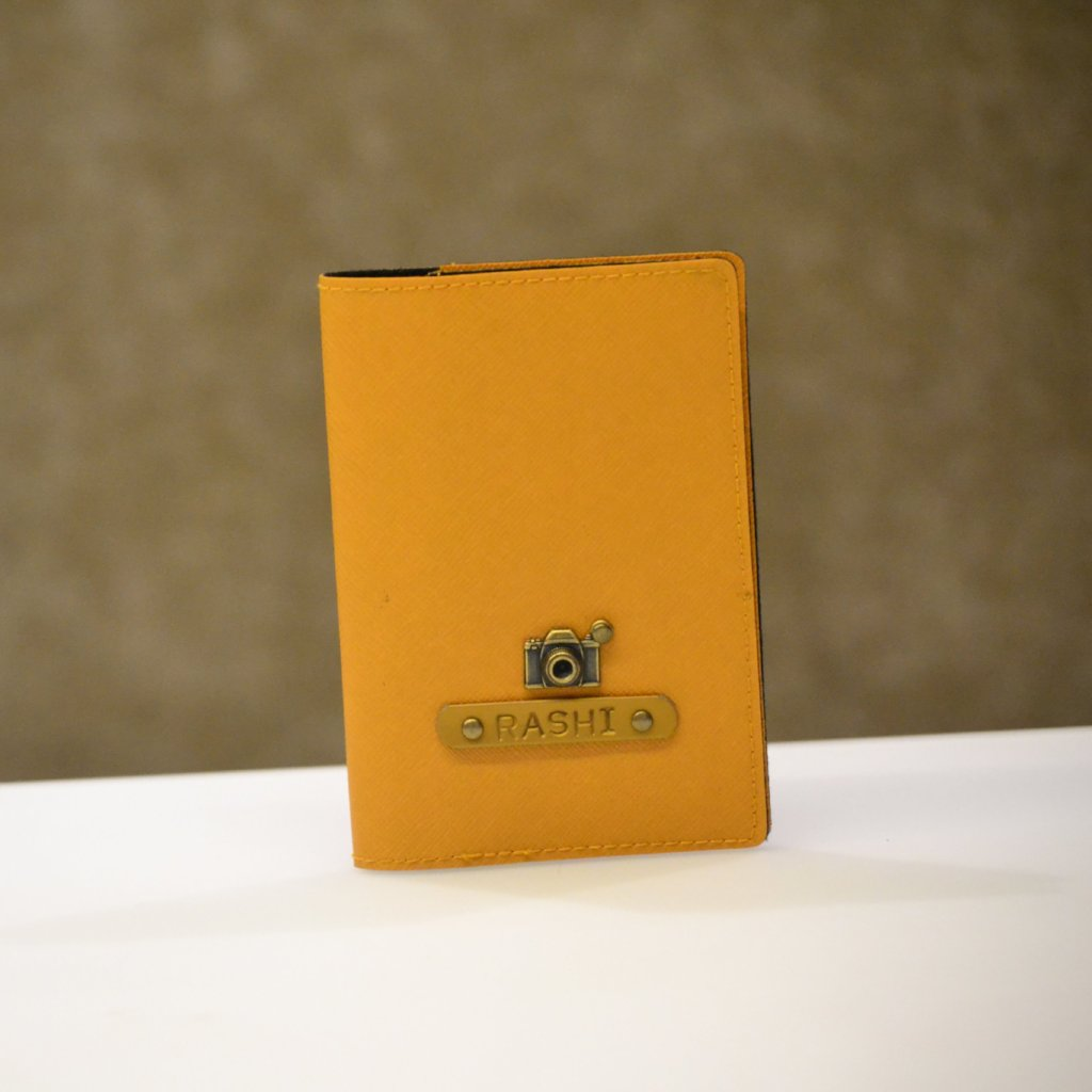 Personalized Saffron Yellow Passport Cover