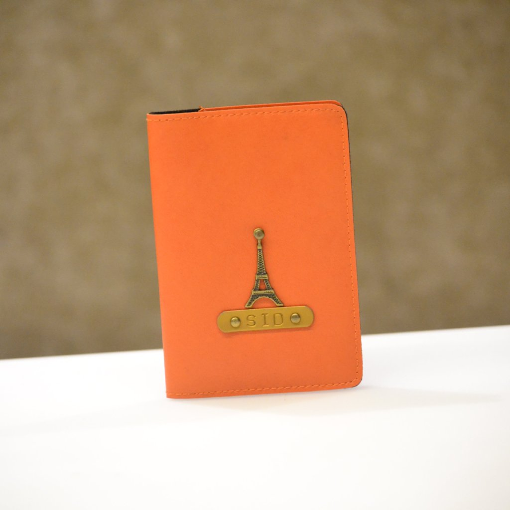 Personalized Orange Passport Cover
