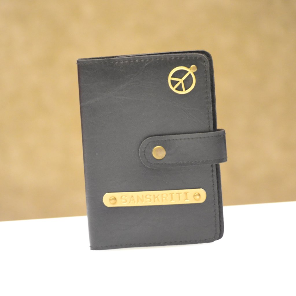 Black Passport Cover with Button
