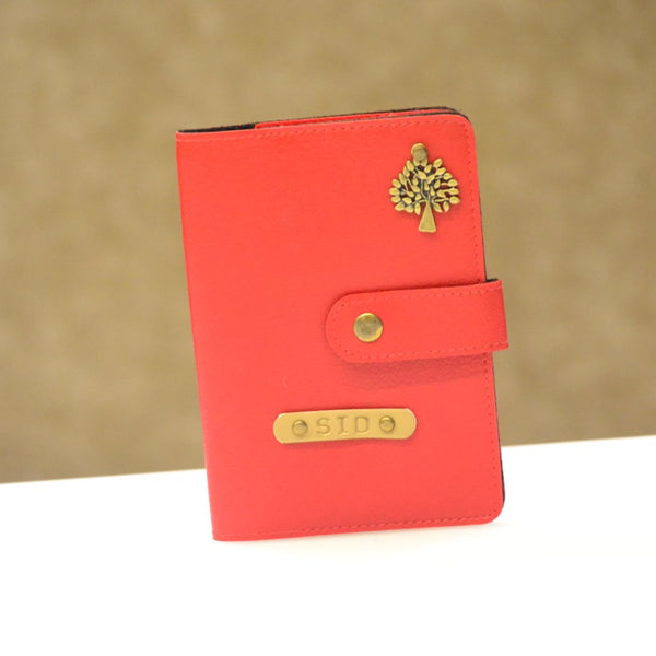 Personalized Cherry Red Passport Cover with Button