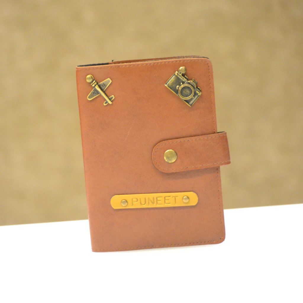 Tan Brown Passport Cover with Button