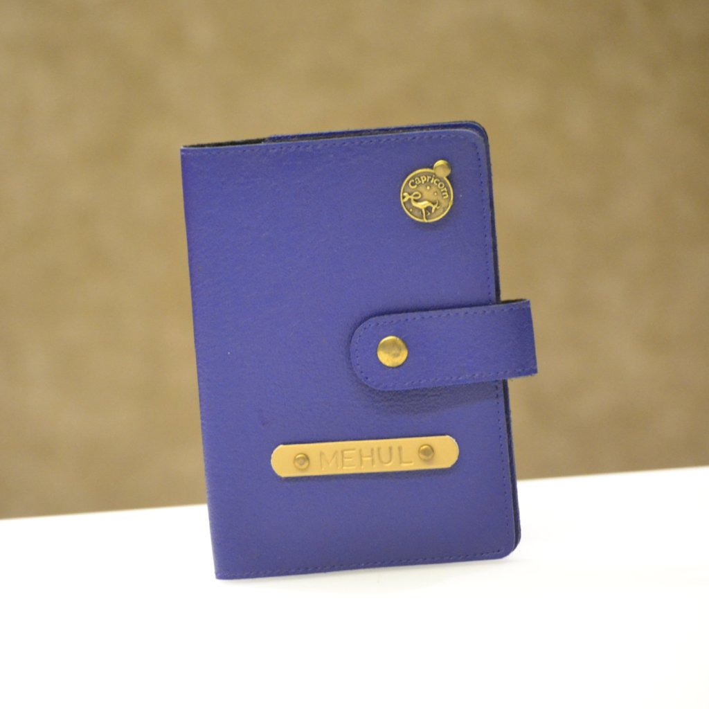 Personalized Royal Blue Passport Cover with Button