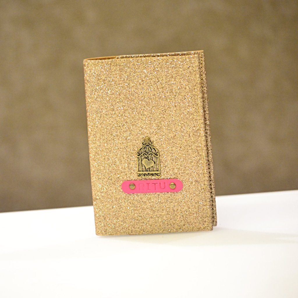 Personalized Gold Shimmer Passport Cover
