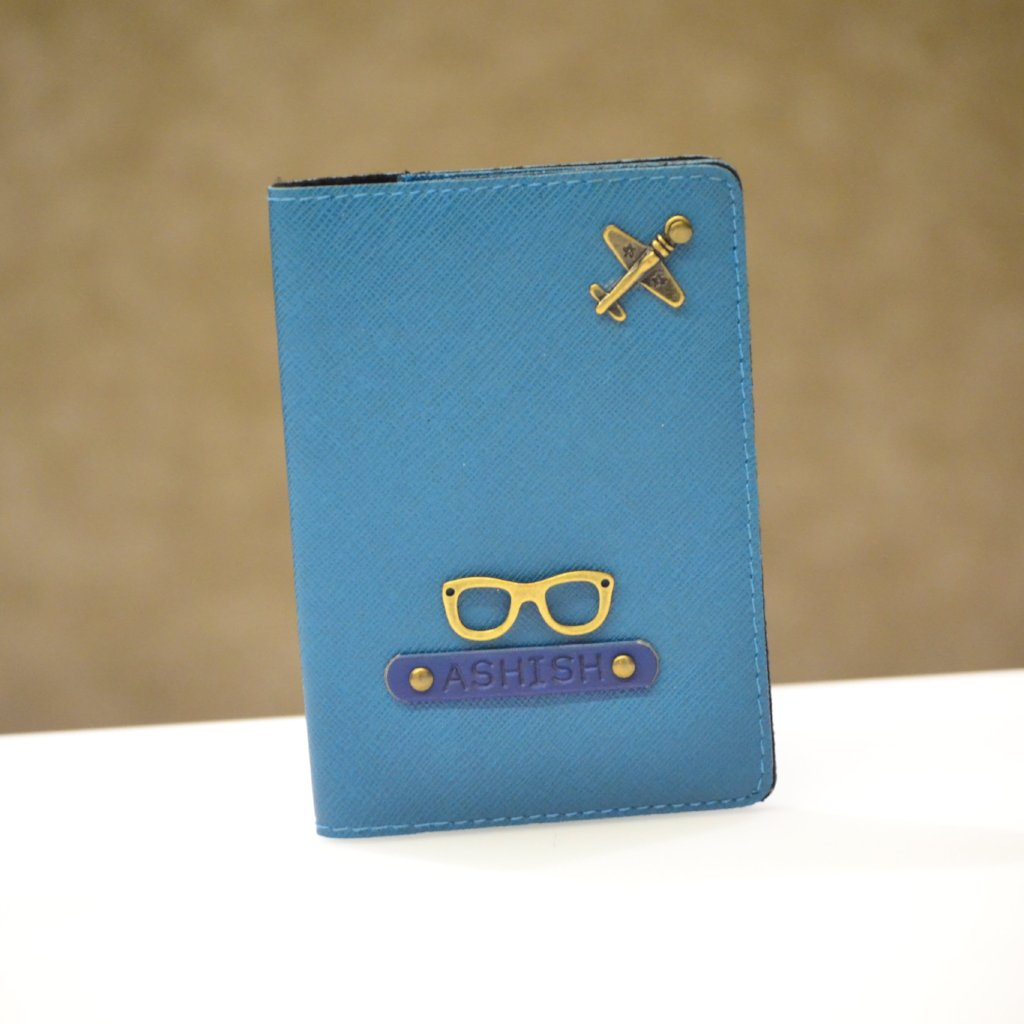 Personalized Coral Blue Passport Cover with charm