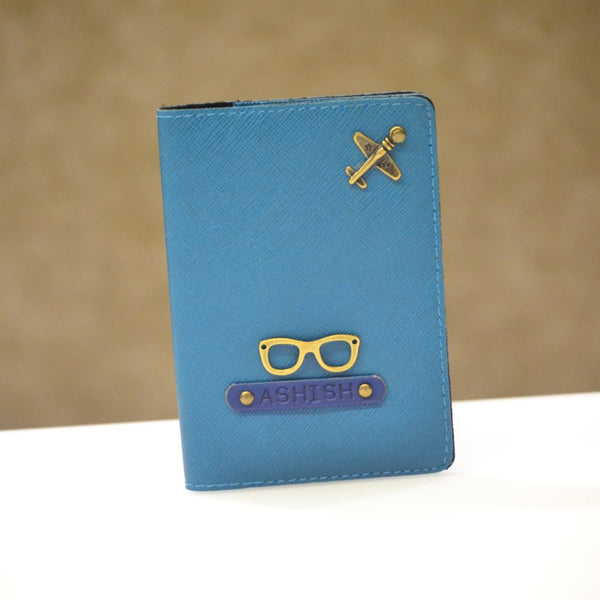 Personalized Coral /& Teal Genuine Leather Passport Cover
