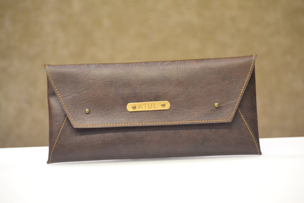 Coffee Brown Cheque Book Holder