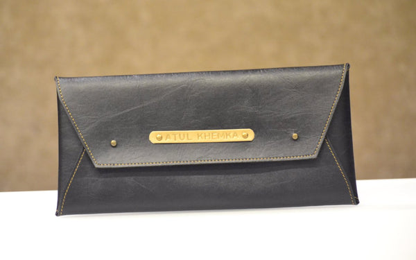 Personalised Charcoal Black Cheque Book Holder