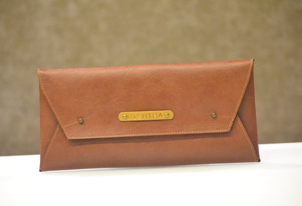 Personalized Tan Brown Cheque Book Holder