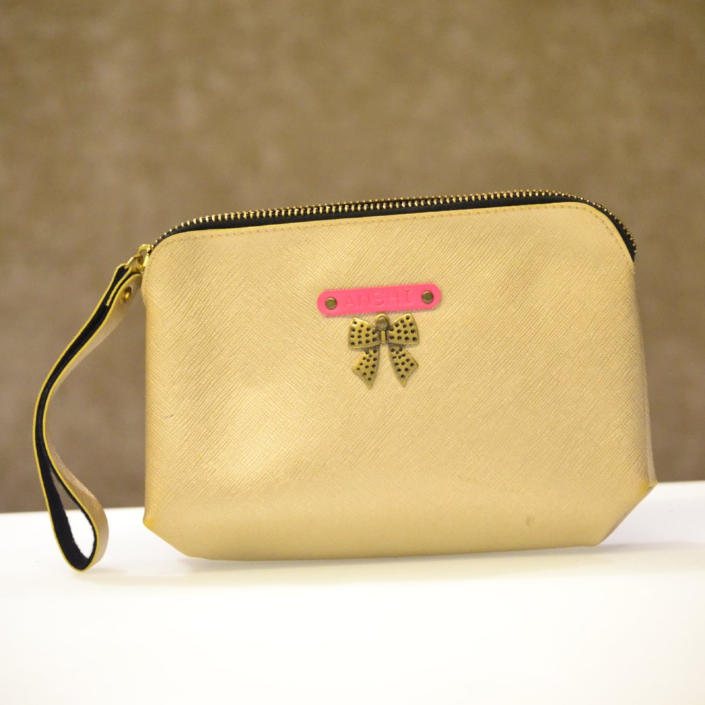 Personalized Gold Pouch