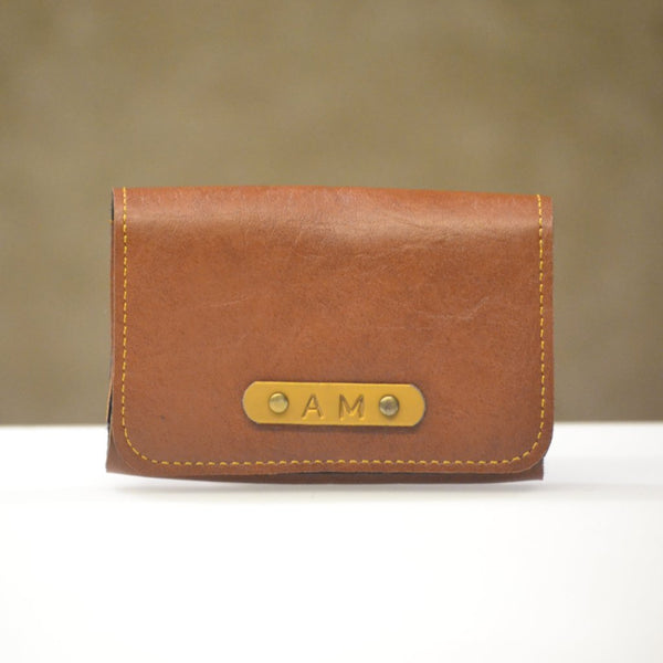 Personalised Tan Brown Business Card Holder