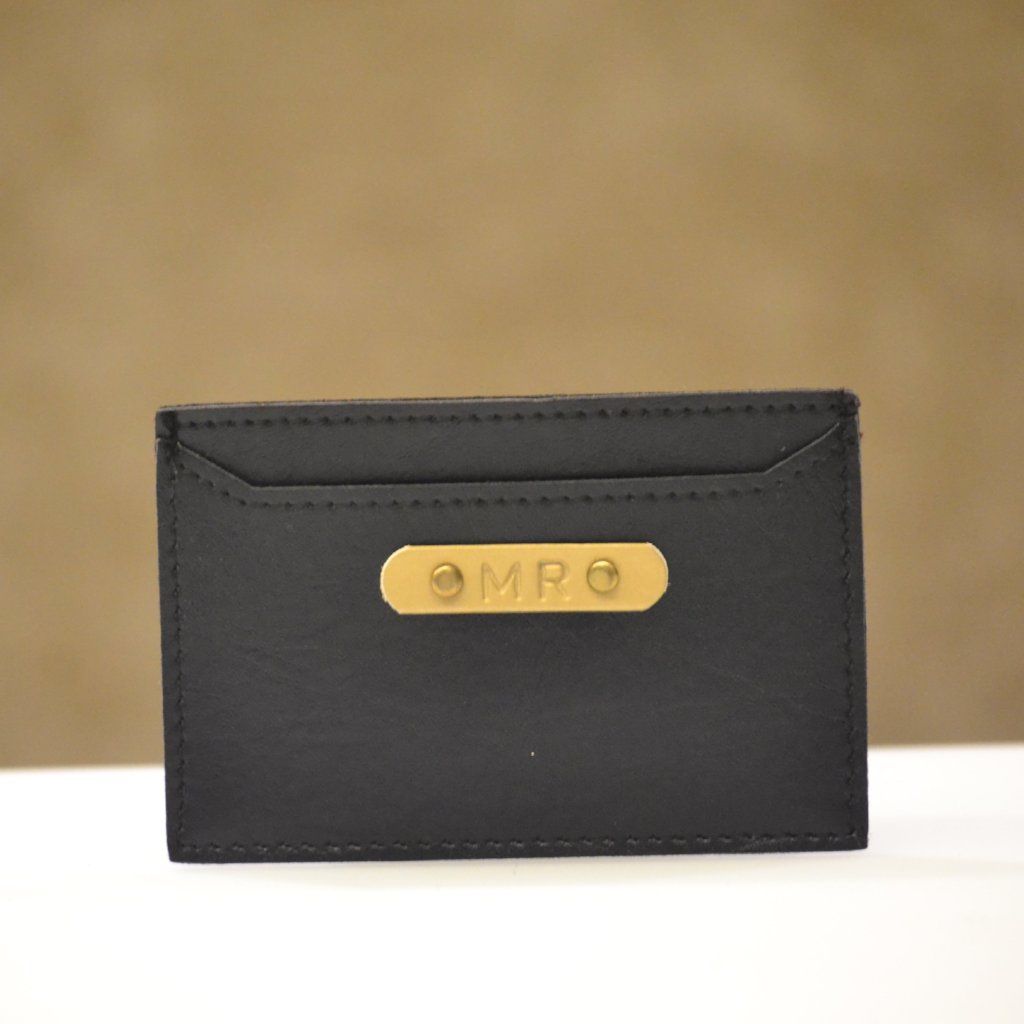 Personalised Charcoal Black Card Holder
