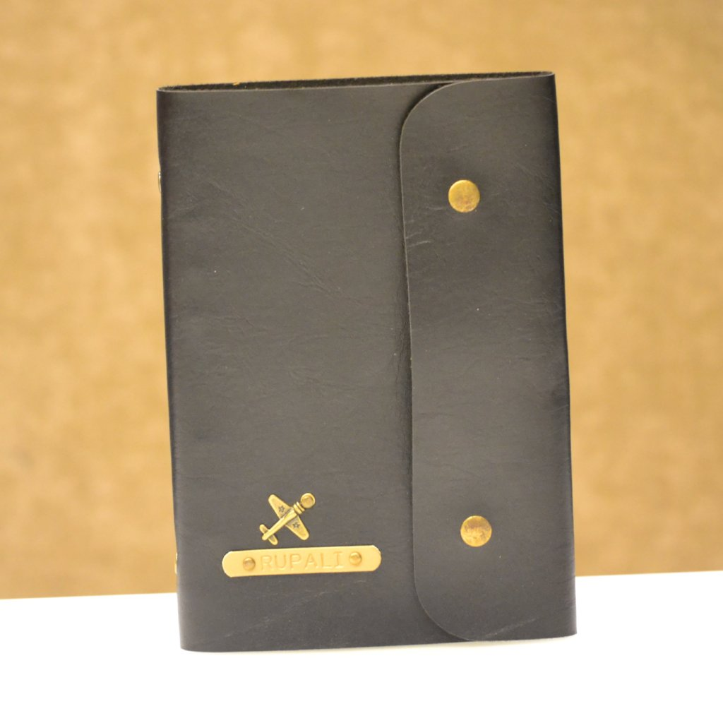 Personalized Charcoal Black Diary with Button