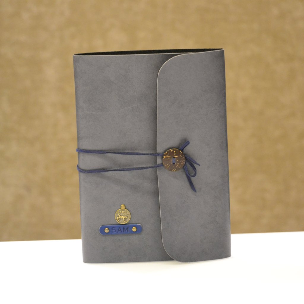 Personalized Grey with Blue Thread Diary