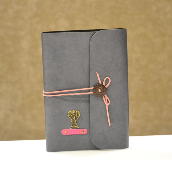 Personalized Grey with pink thread Diary
