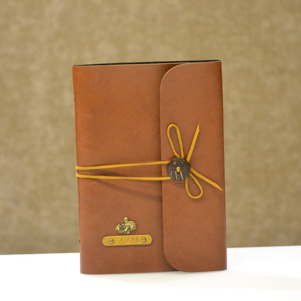 Personalized Tan Brown with Beige Thread Diary