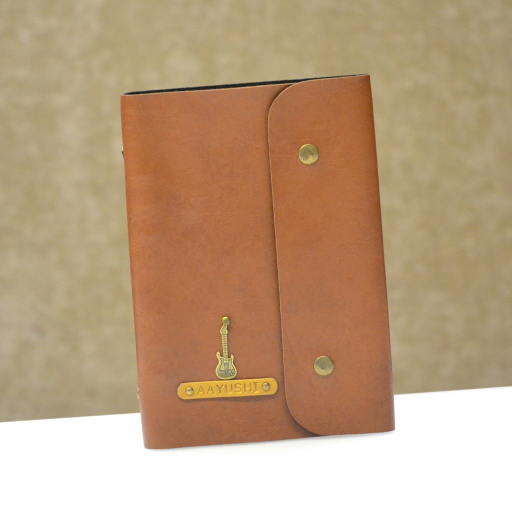 Personalized Tan Brown Diary with Button