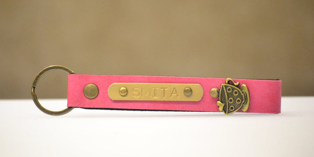 Personalized Dark Pink Keychain with Charm