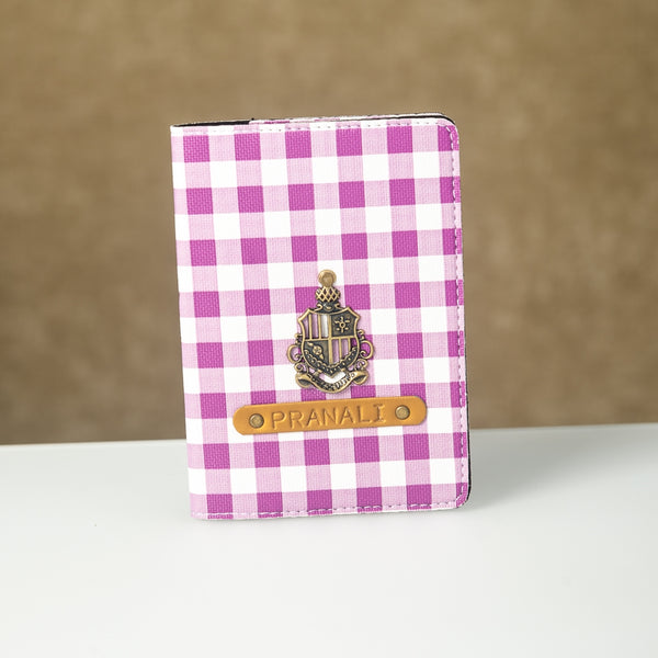 Personalized Purple Checks Passport Cover