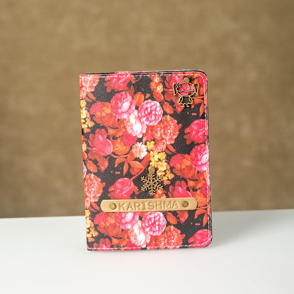 Personalized Pink Floral Passport Cover