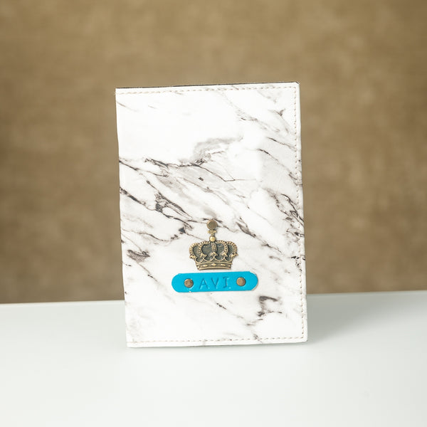 Personalized Snowy Marble Passport Cover
