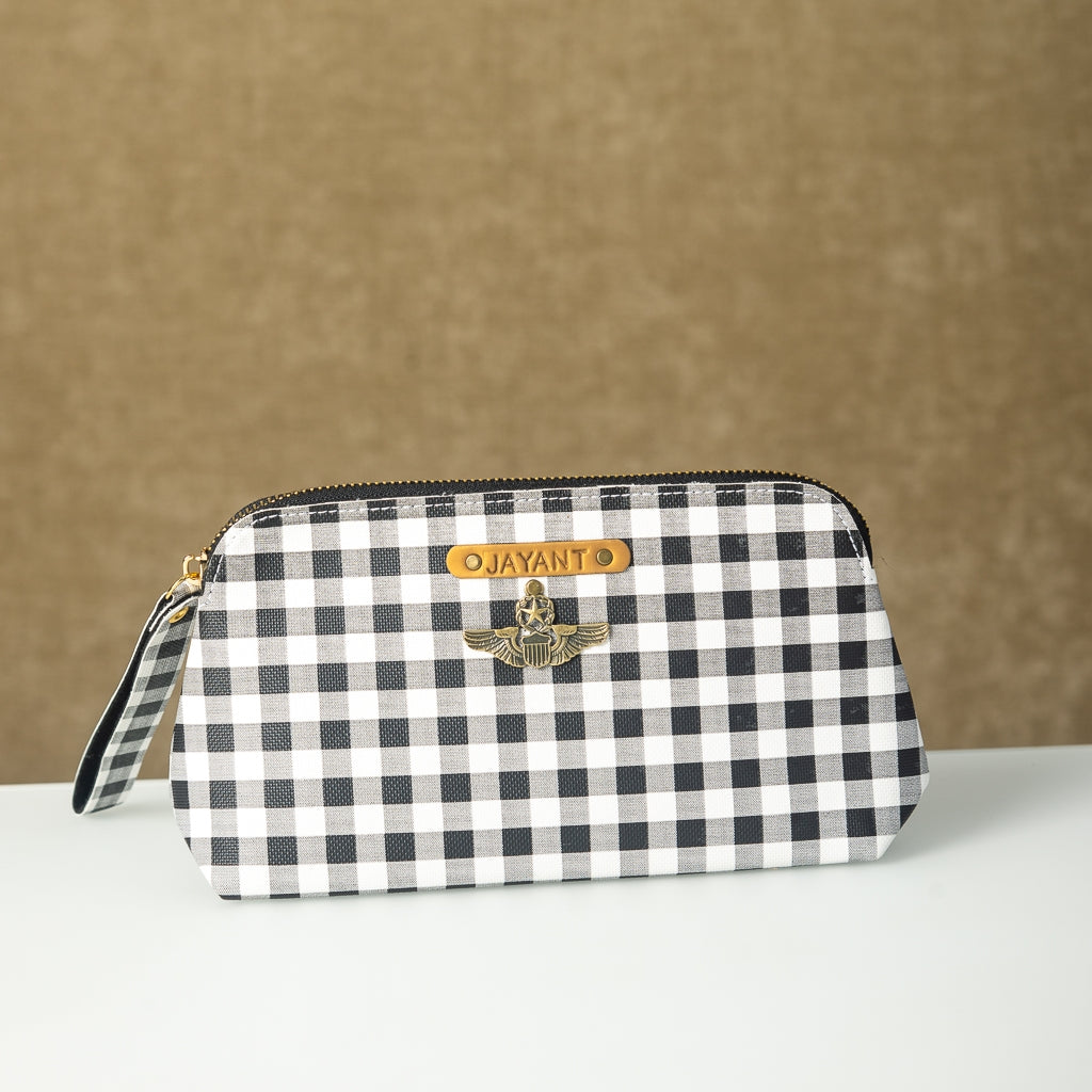 Black n White Checks Pouch