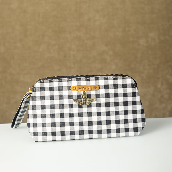 Personalized Black n White Checks Pouch