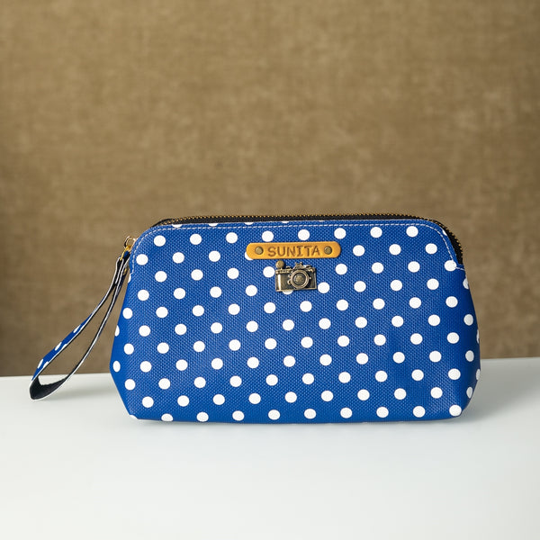 Personalized Blue Polka Dots Pouch