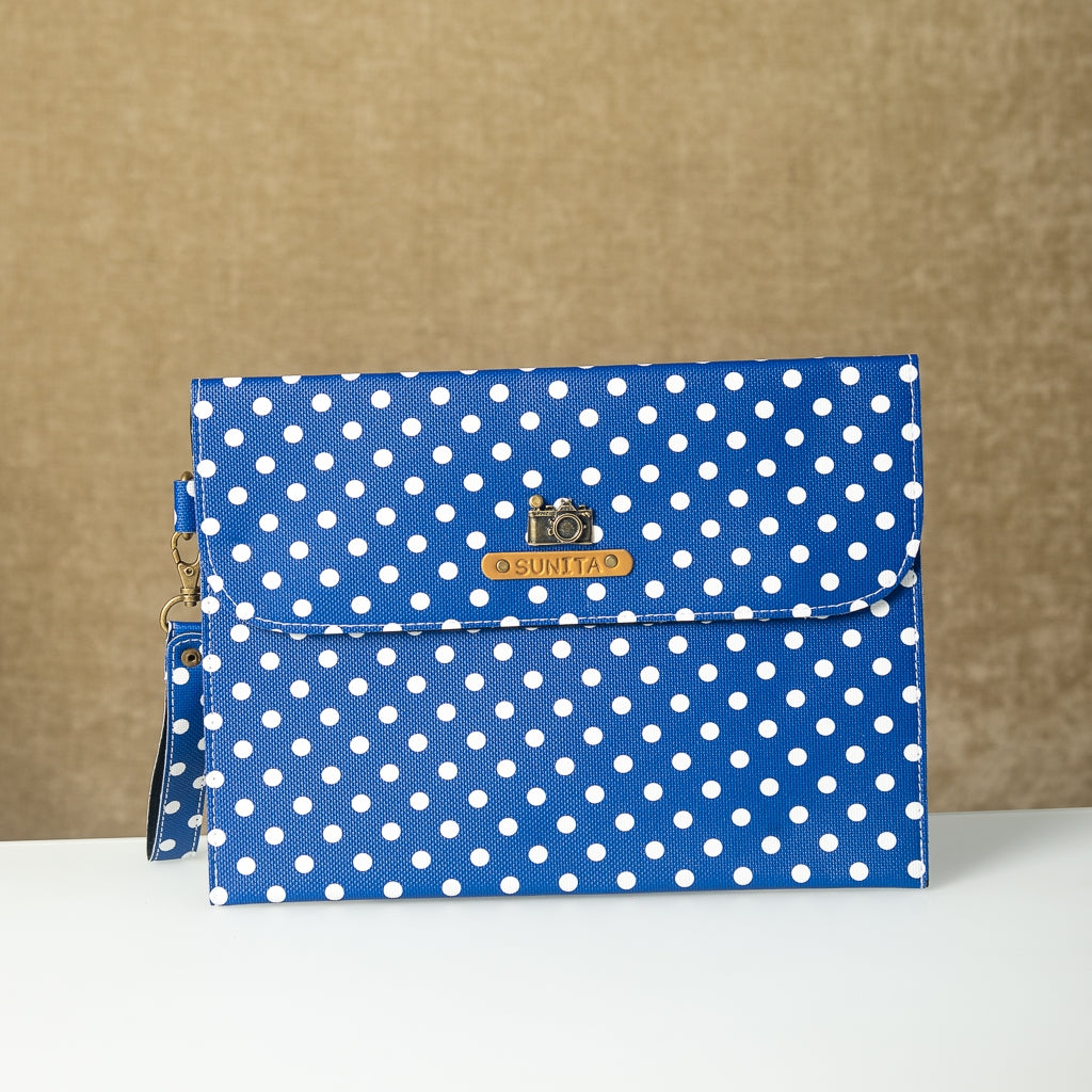 Personalized Dark Blue Polka Dots iPad Sleeve