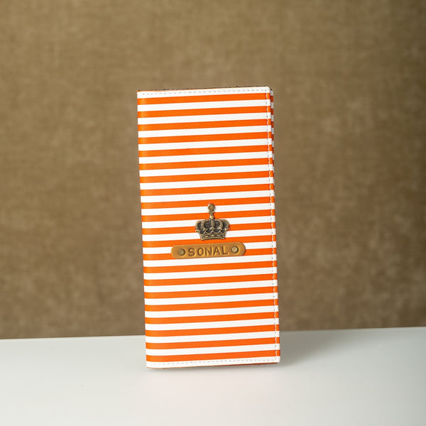 Personalized Orange Lining Travel Folder with charm