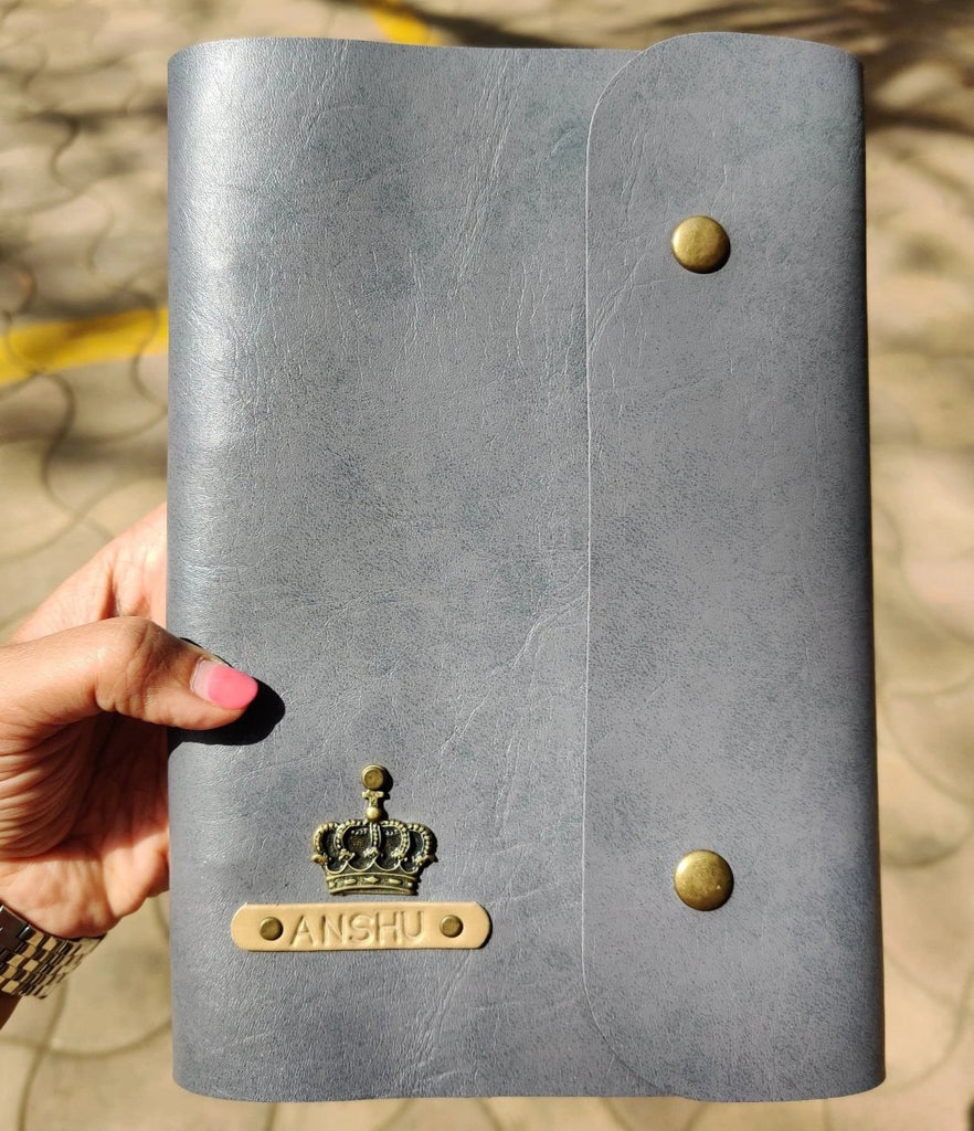 Personalized Grey Diary with Button