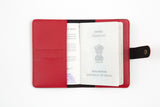 Red Passport Cover with Button