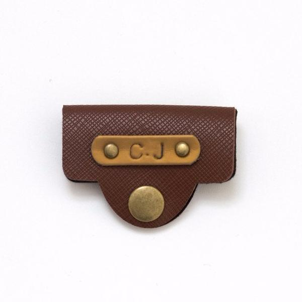 Personalized Tan Brown Earphone Holder