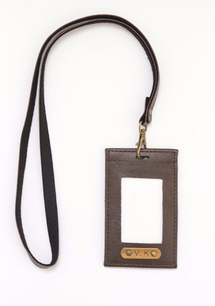 Personalized Brown Corporate ID Card Holder