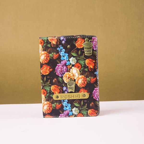 Personalized Black Floral Passport Cover