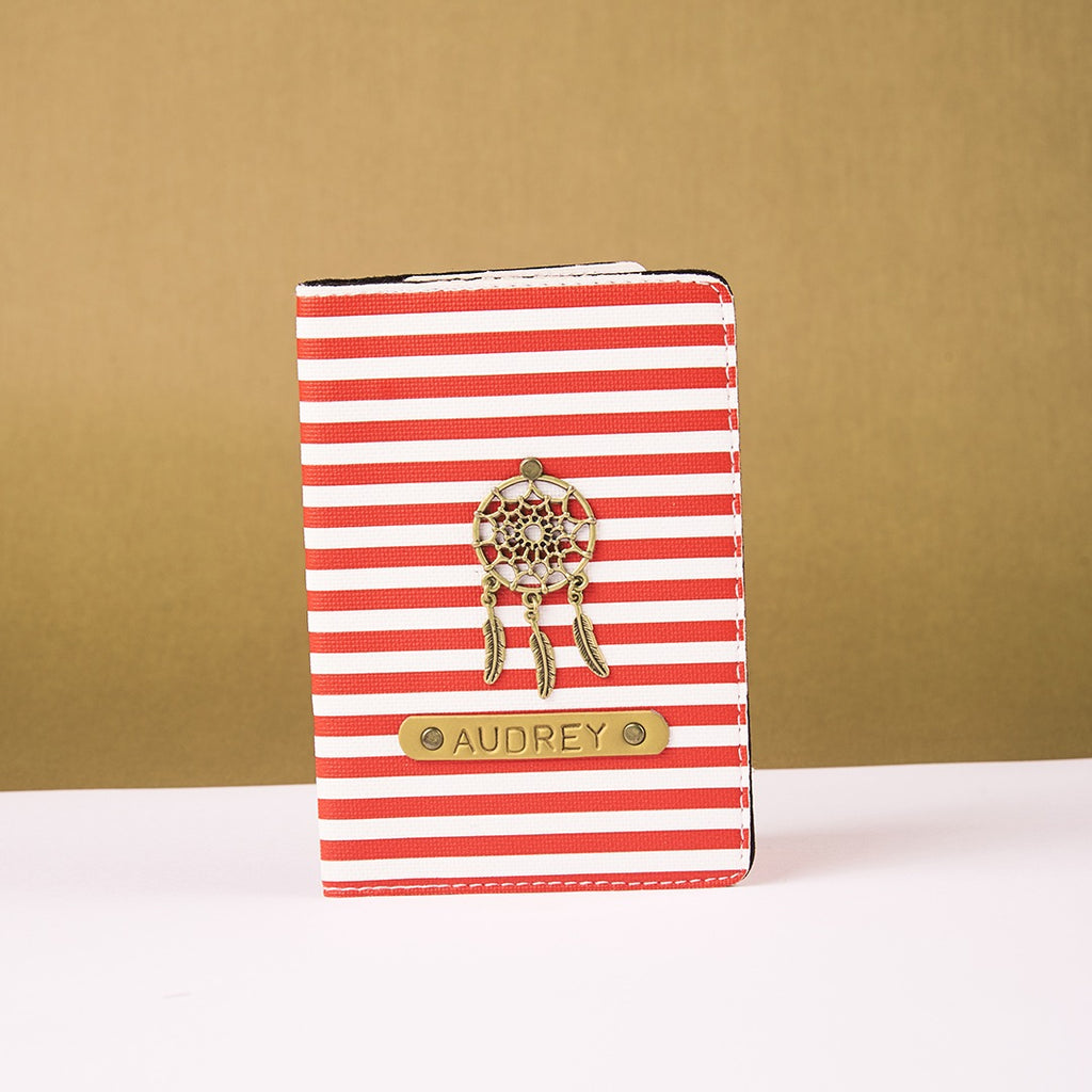 Personalized Red n White Lining Passport Cover