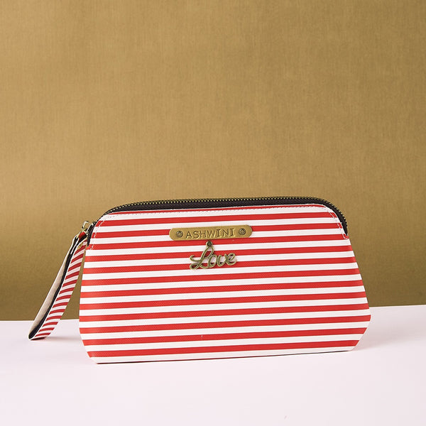 Personalized Red and White Lining Pouch