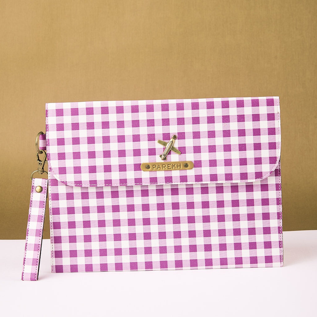 Purple Checks iPad Sleeve
