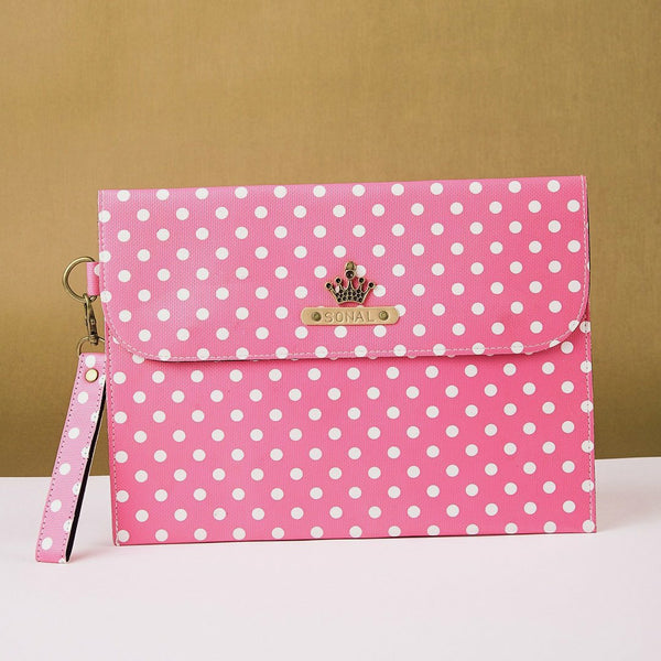 Personalized Pink Polka Dots iPad Sleeve