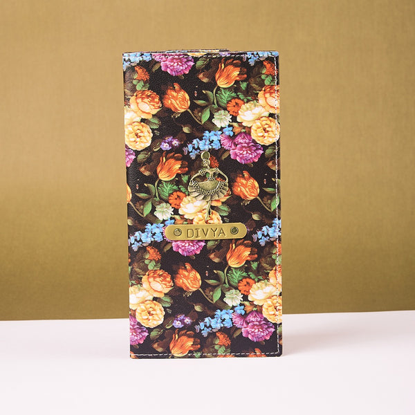 Black Floral Travel Folder