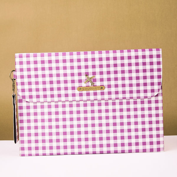 Personalized Purple Checks Laptop Sleeve