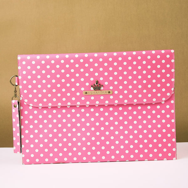 Personalized Pink Polka Dots Laptop Sleeve