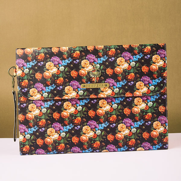 Personalized Black Floral Laptop Sleeve