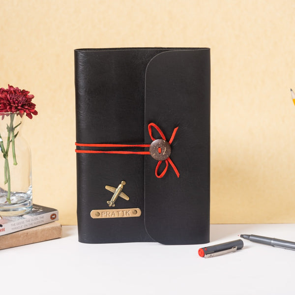 Personalized Charcoal Black with Red Thread Diary