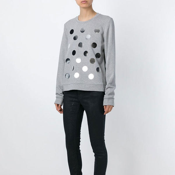 Diesel Black Gold Grey Polka Dot Sweatshirt - FABULUXE